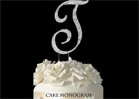 "4-1/2"" Large Letter T Rhinestone Cake Topper Silver"