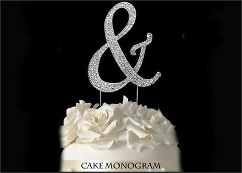 "4-1/2"" Large Letter ""&"" (And) Rhinestone Cake Topper Silver"