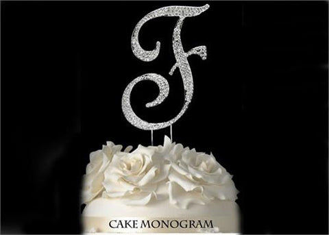 "4-1/2"" Large Letter F Rhinestone Cake Topper Silver"