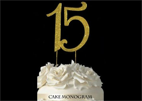 "4-1/2"" Large Number 15 Rhinestone Quinceanera Cake Topper Gold"