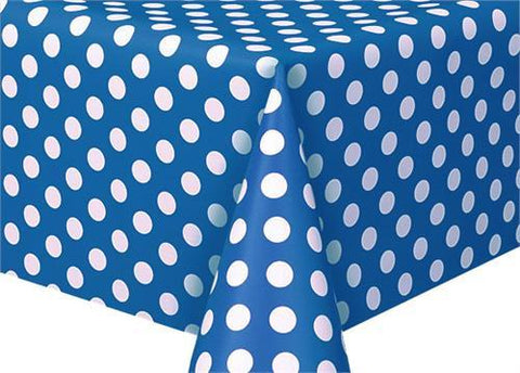"Polka Dot Plastic Tablecloth, 108"" x 54"", Royal Blue"