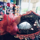 Handmade Pink and gold Venetian Mask with a Rose
