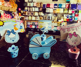 Blue Wooden Baby Shower Card Holder Pot with Stroller(12 Pieces)