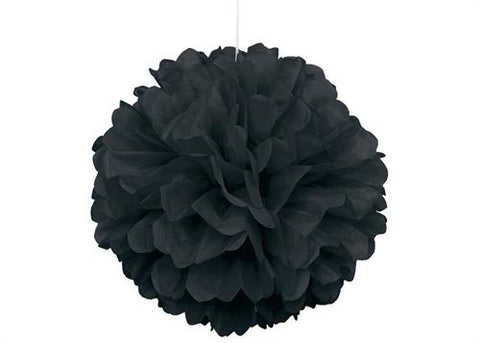 16'' Puff Tissue Paper Balls - BLACK 1 Piece