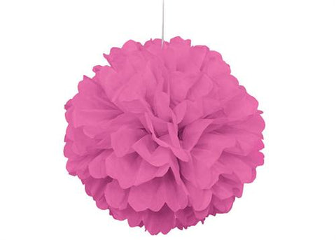 16'' Puff Tissue Paper Balls - Hot Pink 1 Piece