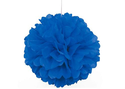 16'' Puff Tissue Paper Balls - Royal Blue 1 Piece