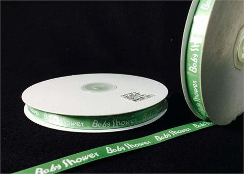 "3/8"" Green Baby Shower Satin Ribbon (50 Yards)"