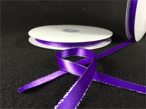 "3/8"" Double Face Satin Ribbon with Silver Edge Purple 50 Yards"