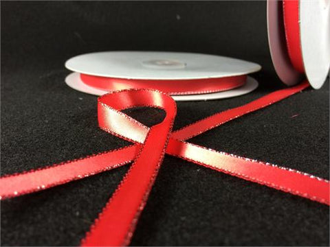 "3/8"" Double Face Satin Ribbon with Silver edge Coral 50 Yards"