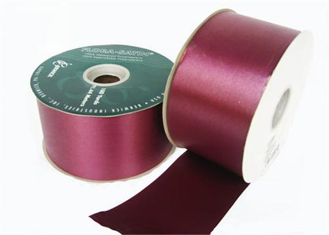 "#40 Burgundy Floral Satin Ribbon 2.75"" X 100 yards (1 Roll)"