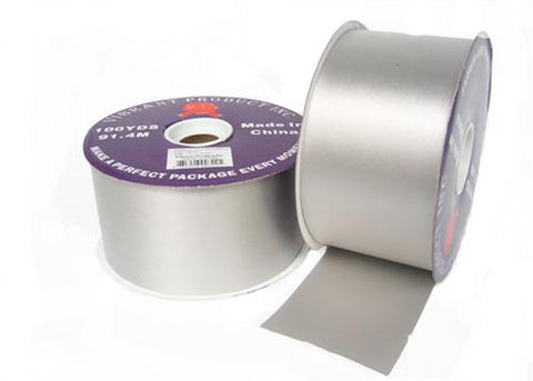 "#40 Silver Flora Satin Ribbon 2.75"" X 100 Yards(1 Roll)"