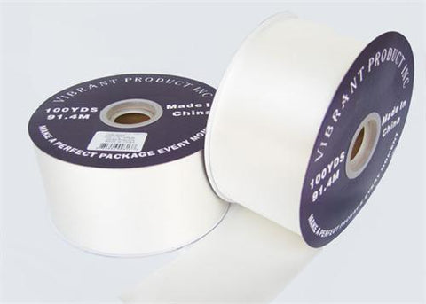"#40 White Flora Satin Ribbon 2.75"" X 100 Yards(1 Roll)"