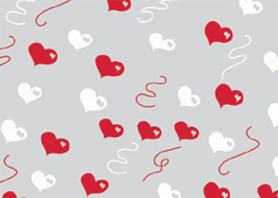 "40"" x 100 Ft Red and White Hearts Strings Valentines Printed Cellophane Paper (1 Roll)"