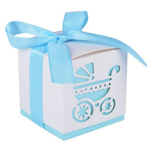"2.3"" Cube Paper Favor Box with Blue Ribbon and Baby Stroller Pattern -12 Pieces"