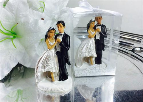 4 Poly Resin Ethnic Wedding Cake Topper Couple (12 Pieces)