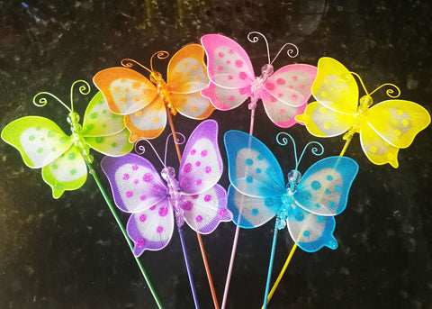 4'' Polka Dots Nylon Butterfly Decoration With Stick (24 assorted pieces)