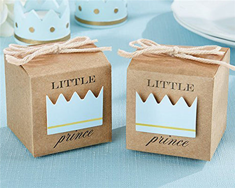 "2"" Cube Paper Favor Box with Blue Crown-50 Pieces"