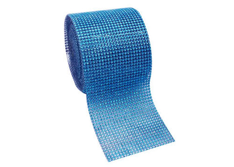 "4.5"" x 10 yards Rhinestone-Look Diamond Wrap Ribbon Turquoise (1 roll)"
