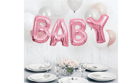 BABY Air Fill Foil Balloon Banner Pink (4 letter balloons)
