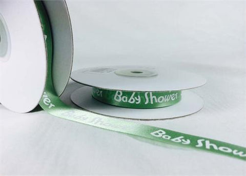 "5/8"" Green Satin Baby Shower Ribbon (25 Yards)"