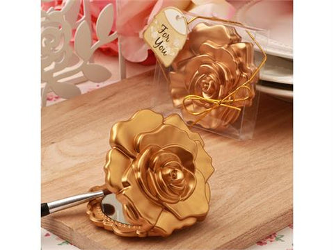 Ornate matte gold rose design compact mirror (12 pieces)