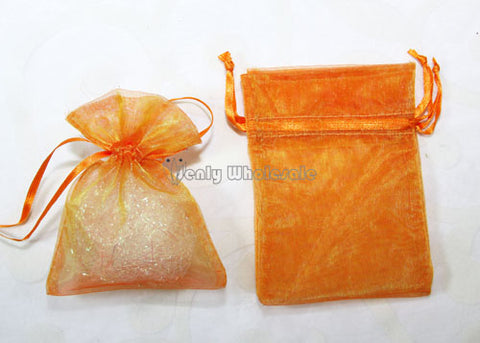 5 X 6-1/2 Orange  Organza Bags (24 Pieces)