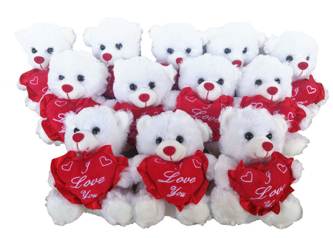 "6"" White Teddy Bear with ""I Love You "" Heart (12 Pieces)"