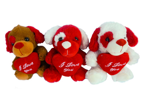 "6"" Valentines Dog Plush with ""I Love You"" Heart (12 Pieces)"