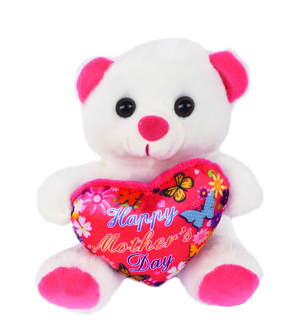 "6"" White Teddy Bear with ""Happy Mother's Day"" Heart (12 Pieces)"