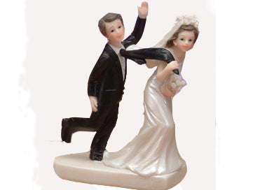 5 Poly Resin Wedding Cake Topper Bride Pulling Groom (1 piece)
