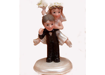 6.5 Poly Resin Funky Comical Wedding Cake Topper Groom Carries Bride (1 piece)