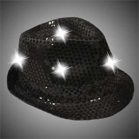 Light-Up Fedora Hat with 6 Lights - Black