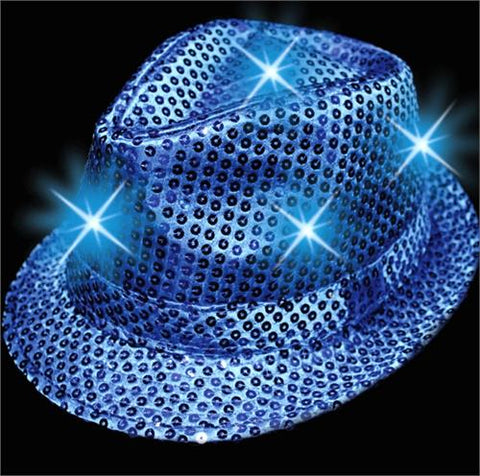 Light-Up Fedora Hat with 6 Lights - Blue