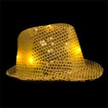 Light-Up Fedora Hat with 6 Lights- Gold