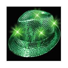 Light-Up Fedora Hat with 6 Lights - Green