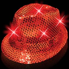 Light-Up Fedora Hat with 6 Lights- Red