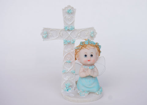 6 Inch Praying Angel Figurine Baptism & Communion Party Favors Decoration Boy (12 Pieces)