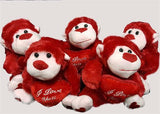 "6"" Valentine's Day Gorilla Plush with ""I Love You"" Heart Red(12 Pieces)"