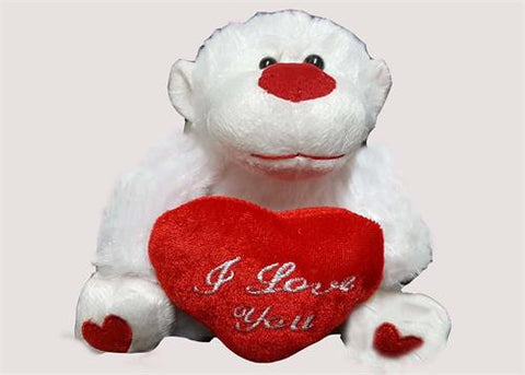 "6"" Valentine's Day Gorilla Plush with ""I Love You"" Heart White (12 Pieces)"