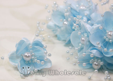 Organza and Satin Flower with Pearl Spray Pastel Blue(72 Flowers)