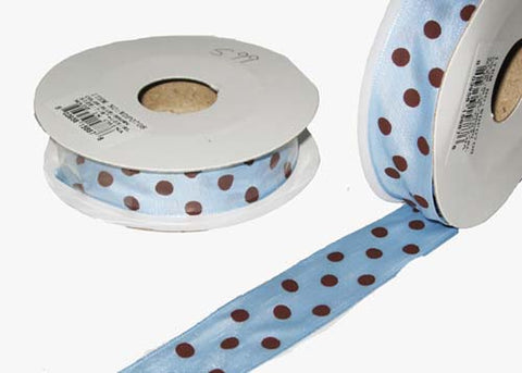 "7/8"" Brown Polka Dots Single Face Satin Wired Ribbon Light Blue 10 YD"