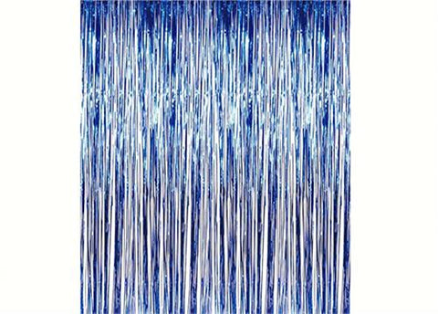 Blue Metallic Foil Party Tassel Curtain Fringe Wall Decoration Hanging 3'x 8'