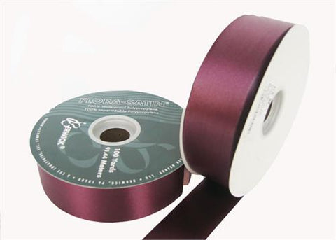 "#9 Burgundy Flora Satin Ribbon 1- 7/16"" X 100 Yards (1 Roll)"