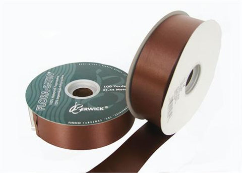 "#9 Chocolate Flora Satin Ribbon 1- 7/16"" X 100 Yards(1 Roll)"
