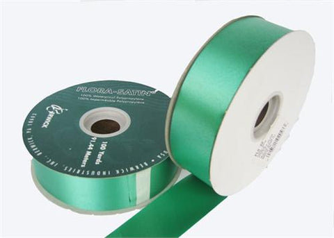 "#9 Emerald Flora Satin Ribbon 1- 7/16"" X 100 Yards (1 Roll)"