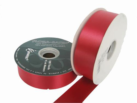 "#9 Lava Red Flora Satin Ribbon 1- 7/16"" X 100 Yards(1 Roll)"