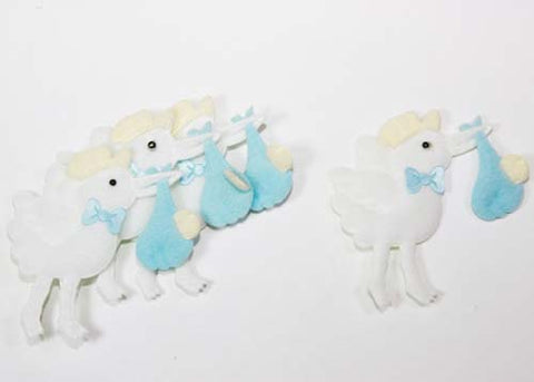 Baby Shower Decoration Cotton Baby Stork Blue (12 pieces)