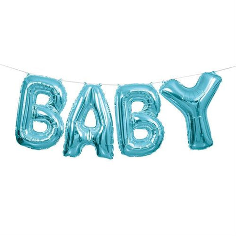 BABY Air Fill Foil Balloon Banner Blue (4 letter balloons)