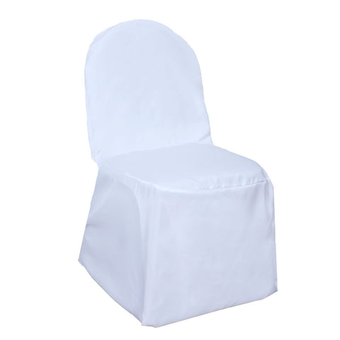 White Banquet Hall Chair Cover-Flat (1 Piece)