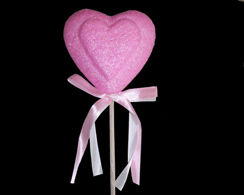 Pink Heart Shaped Floral Styrofoam Pick (4 Pieces)